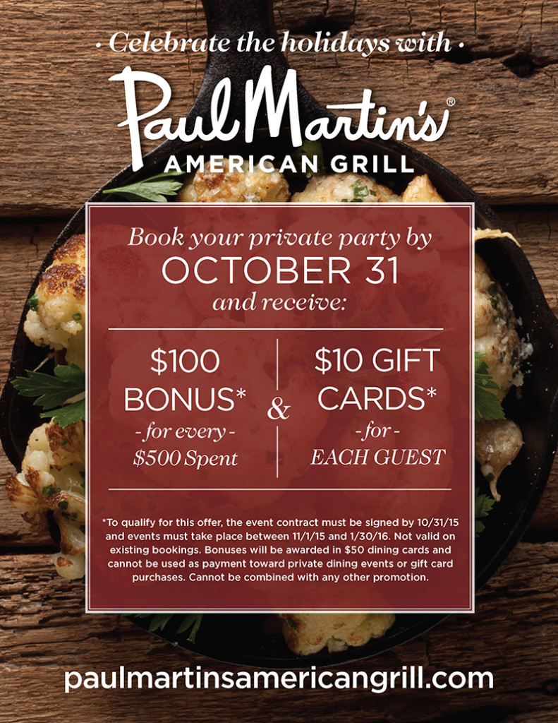 Celebrate the holidays at Paul Martin's American Grill!